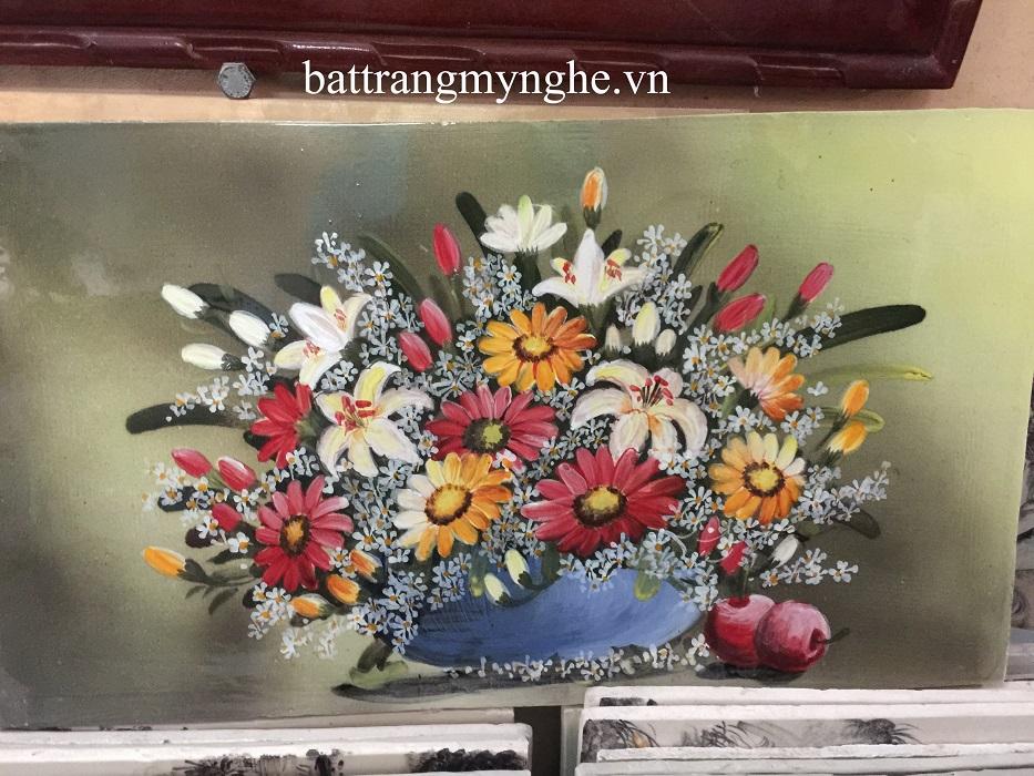 Tranh sứ vẽ hoa khổ 50x80 mẫu 2