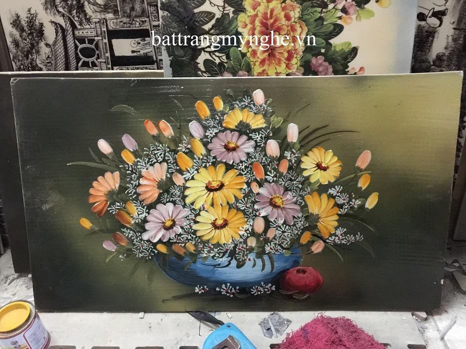 Tranh sứ vẽ hoa khổ 50x80 mẫu 3
