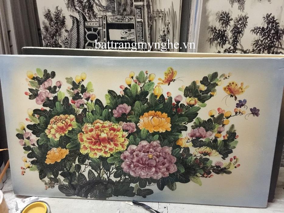 Tranh sứ vẽ hoa khổ 60x95 mẫu 4