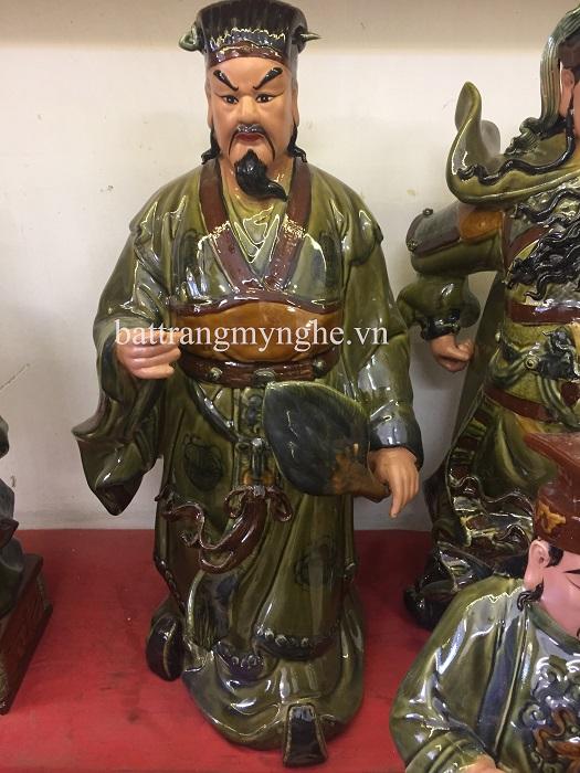 Tượng Khổng Minh - men xanh ngọc- hàng kĩ - cao 75 cm