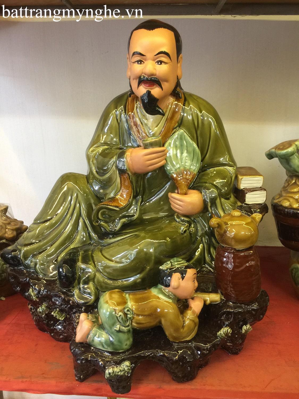 Tượng thần trà cao 55 cm men xanh ngọc