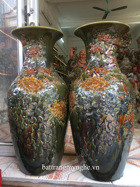 Lọ lục bình phú quý đắp nổi hoa cao 110cm