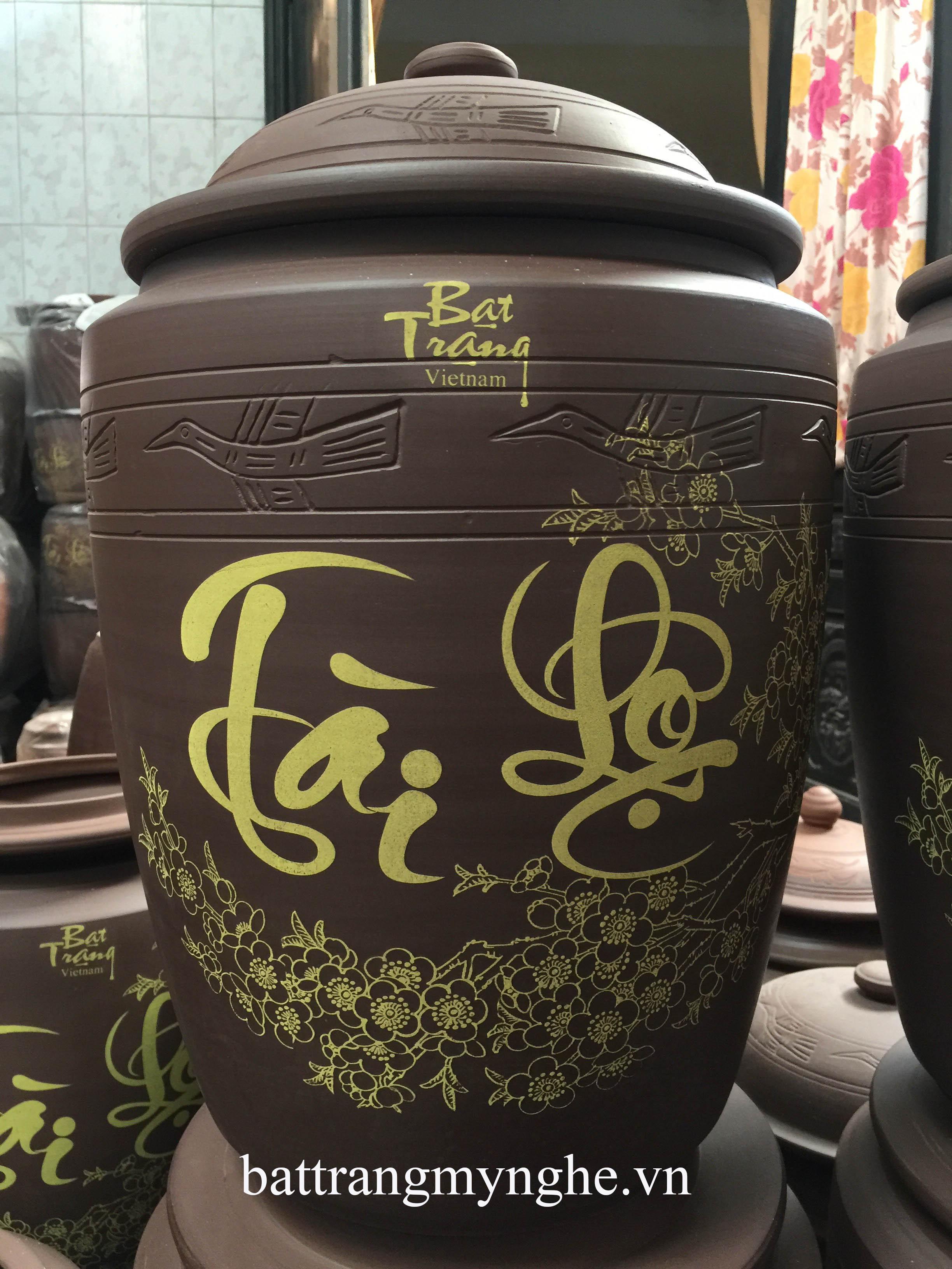Hũ Sành đựng Gạo Tài Lộc vẽ hoa văn 30 Kg