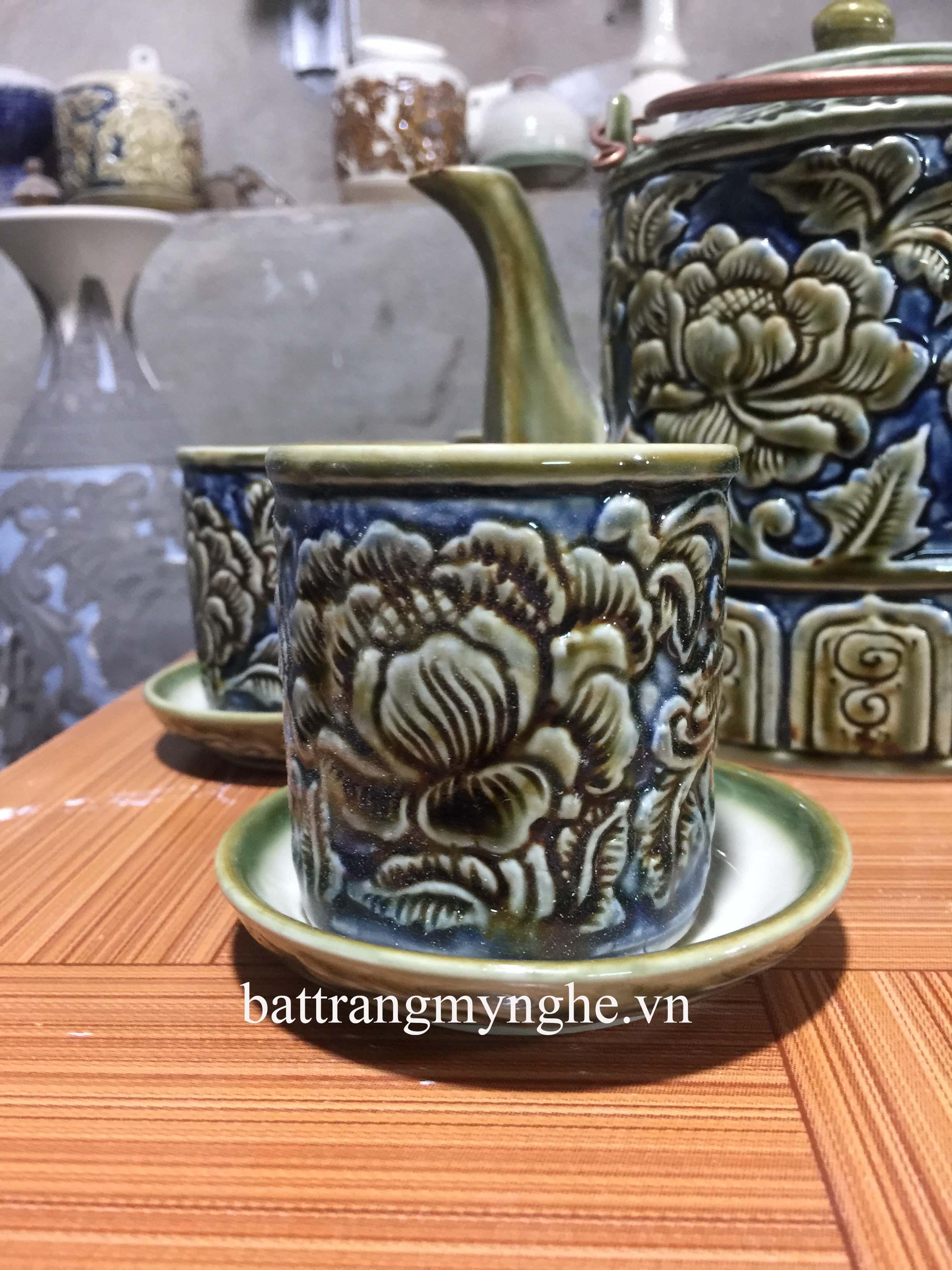 bộ ấm tích khắc nổi hoa phù dung xanh - 1,25 lít