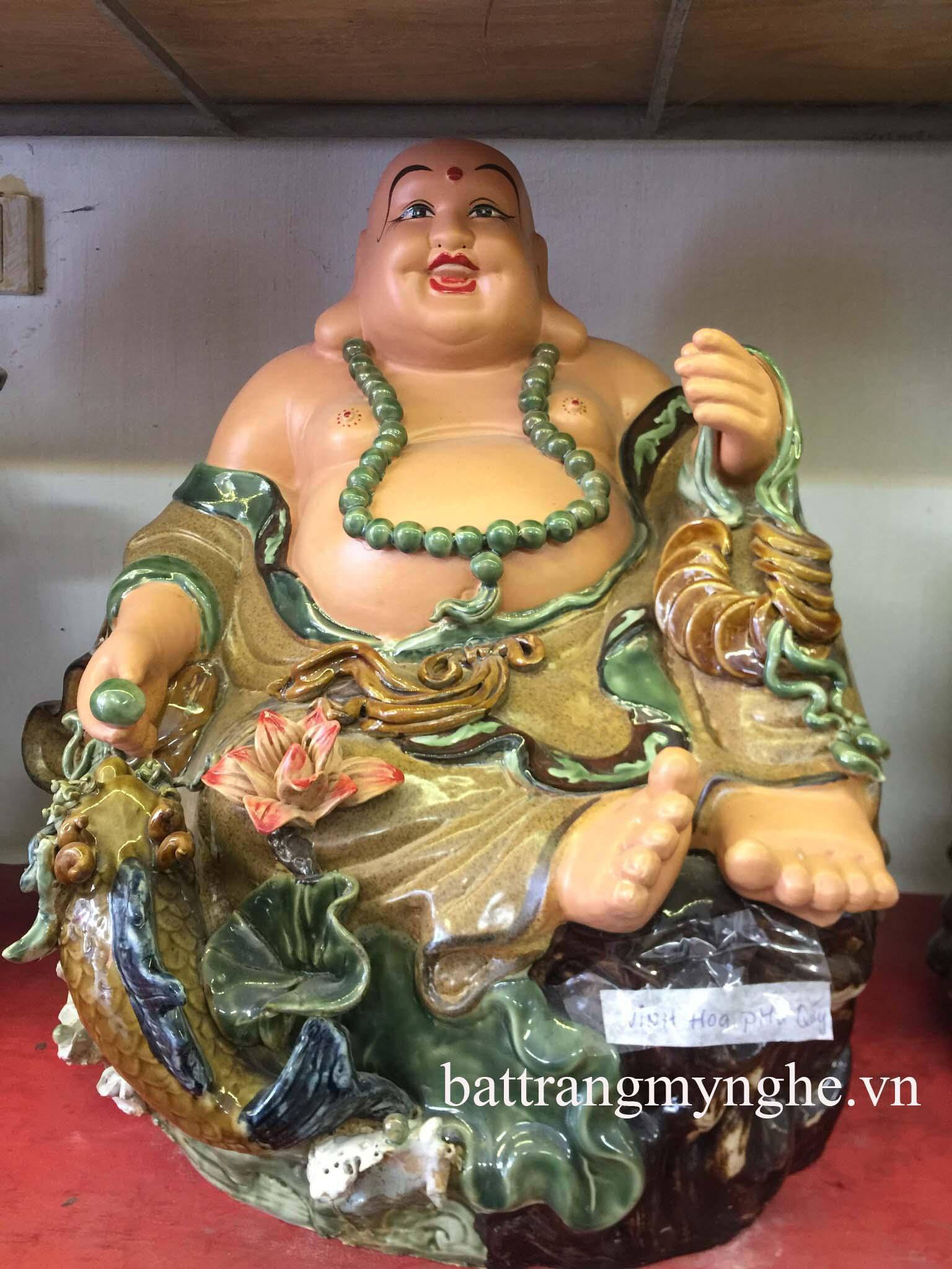 Tượng Di Lặc vinh hoa phú quý - men nâu- cao 50 cm rộng 50 cm