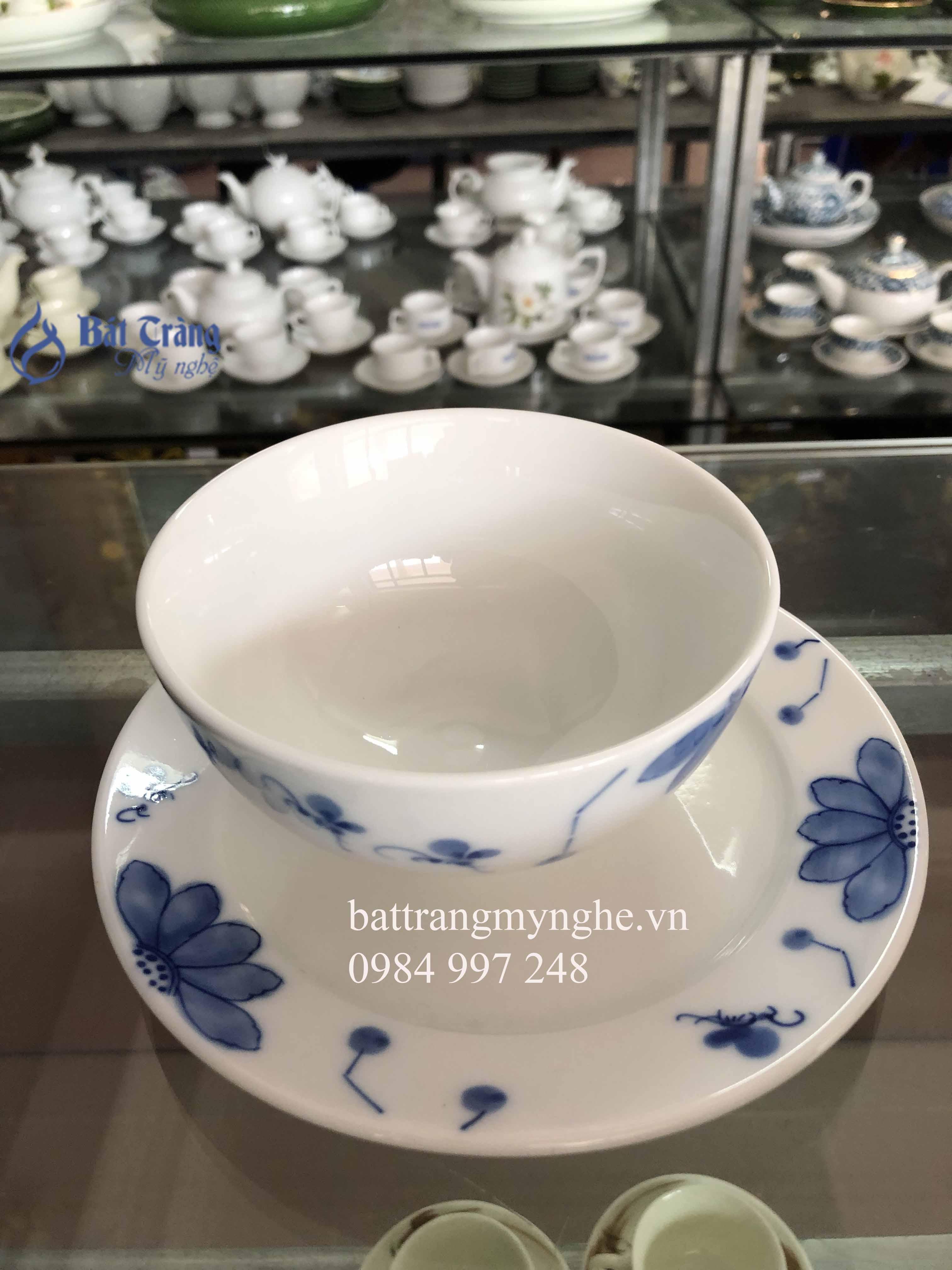 Bộ đồ ăn men trắng vẽ hoa sen xanh cao cấp