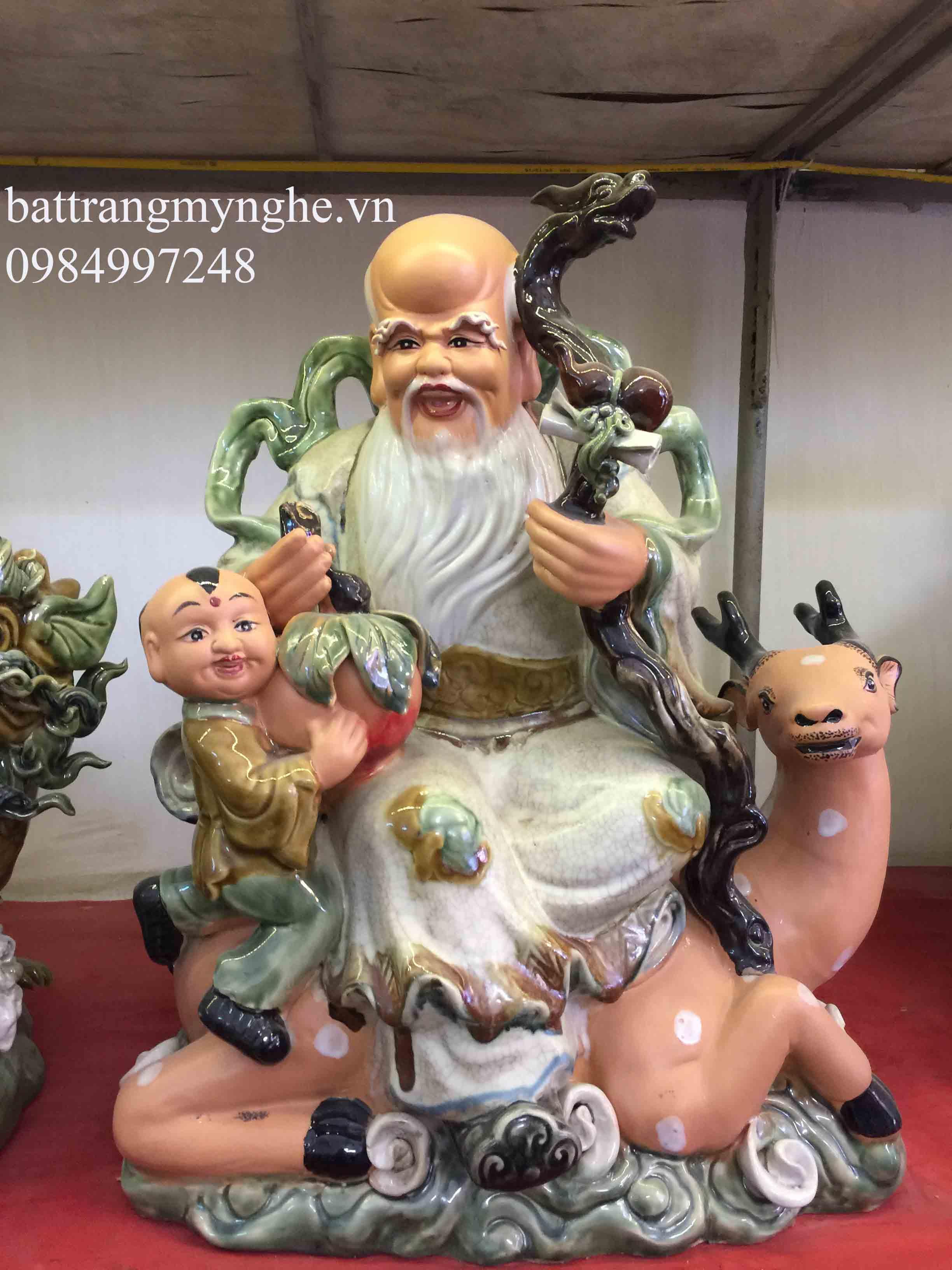 Tượng Phúc Lộc Thọ dáng ngồi - men rạn cổ - cao 60 cm