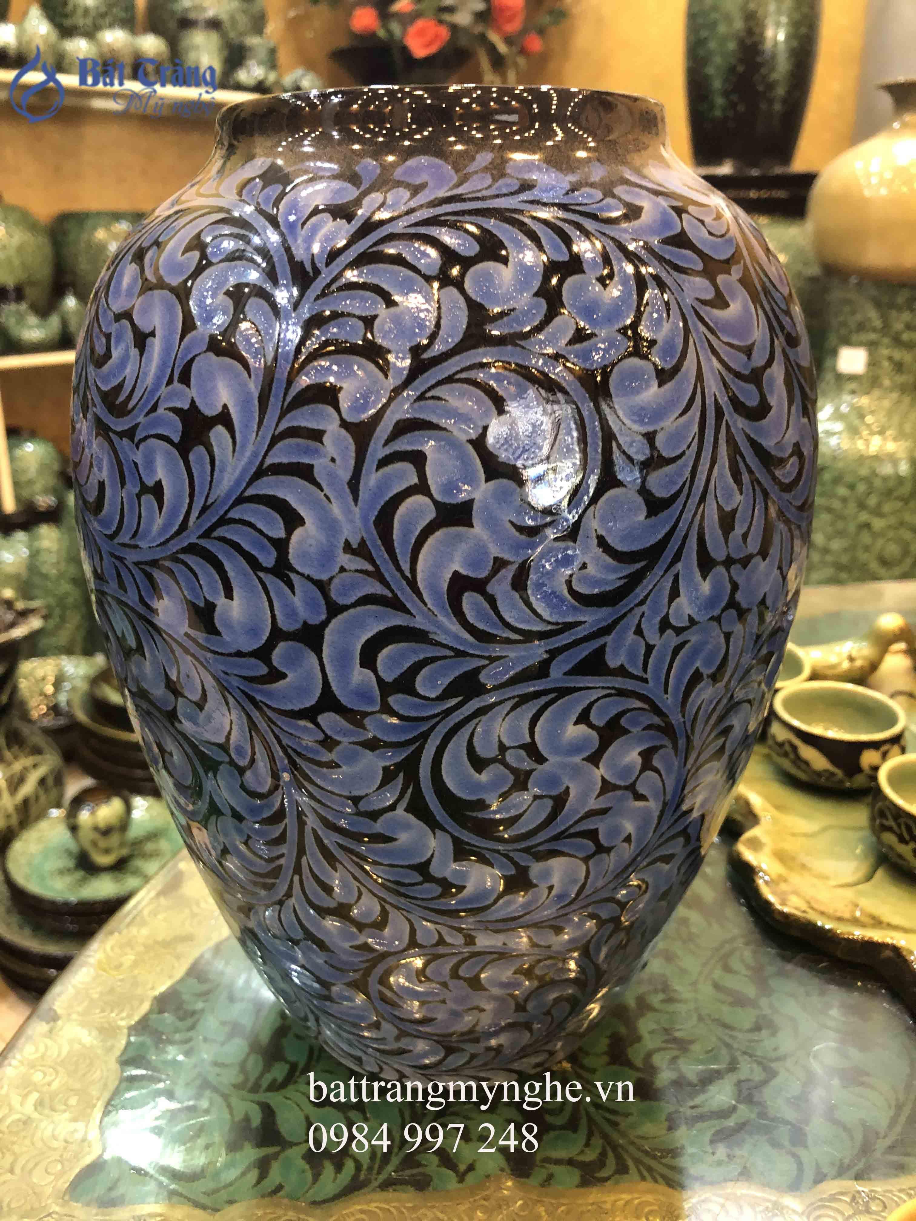 Lọ cắm hoa khắc hoa dây men xanh cao cấp cao 35cm