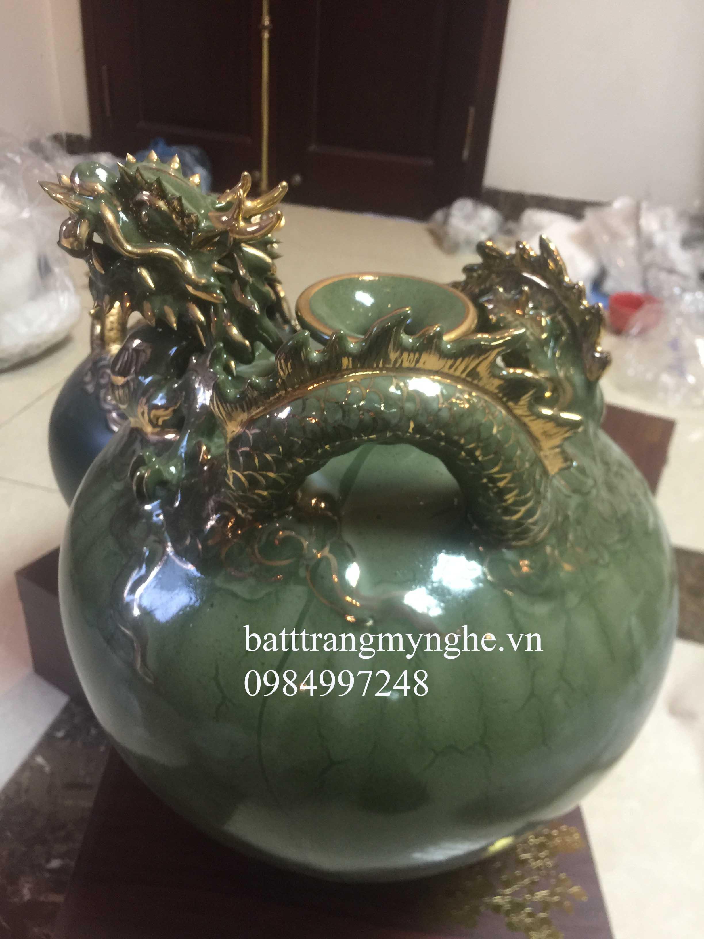 Bình hút tài lộc cao 40cm hàng kĩ men xanh đắp rồng
