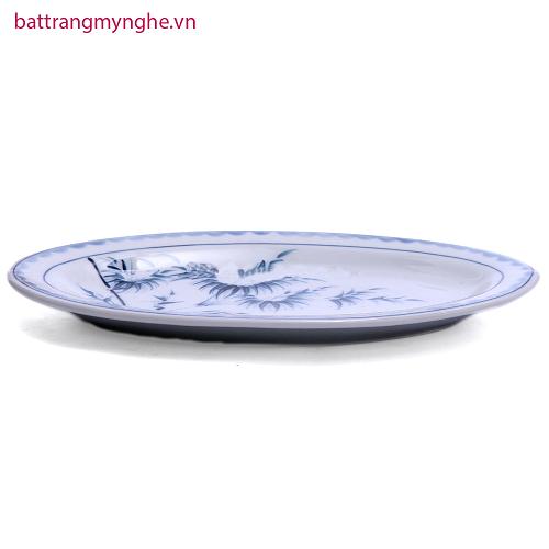 Đĩa bầu dục đựng đồ ăn vẽ Trúc - men chàm - dài 30 cm - rộng 20 cm