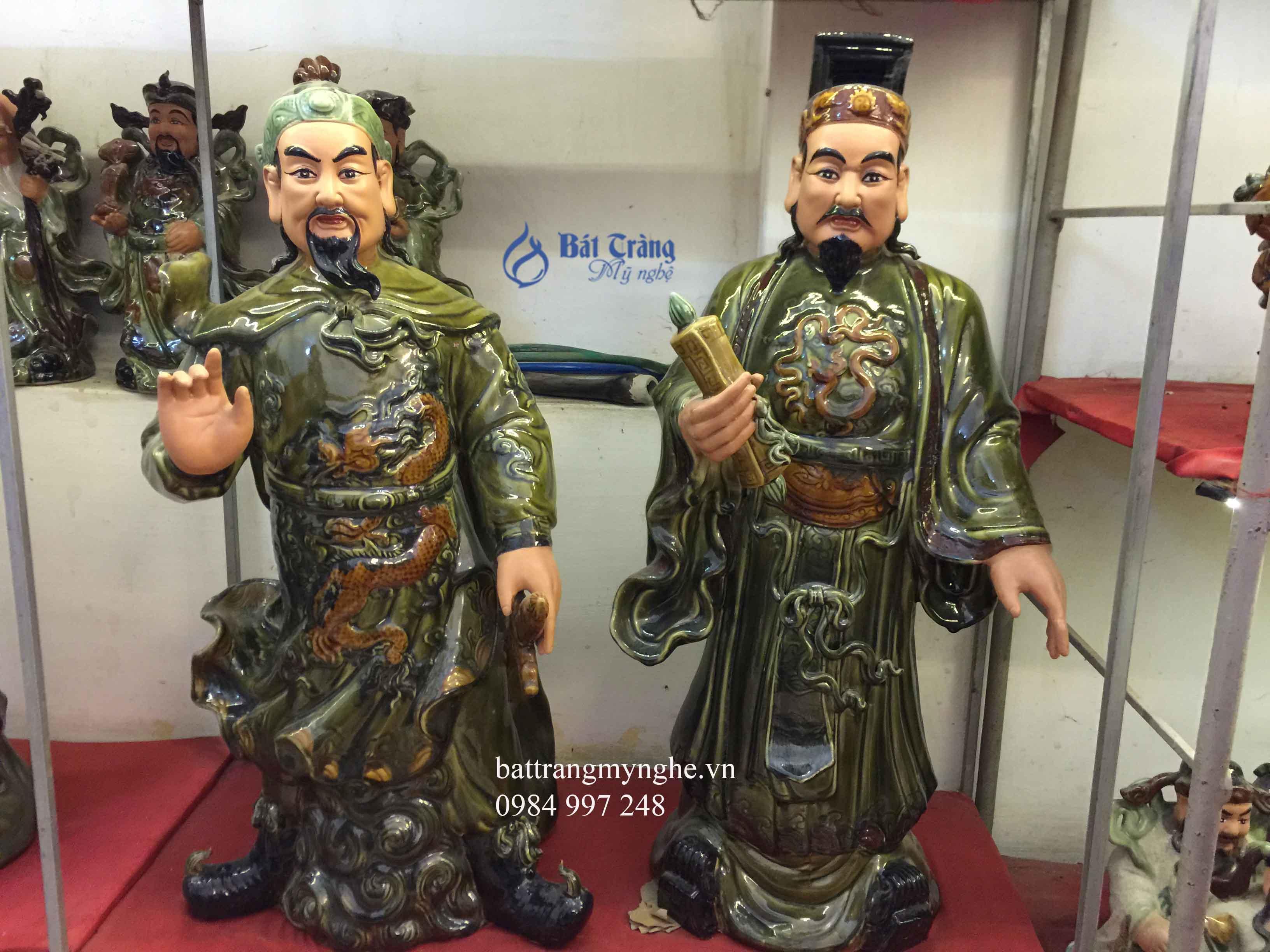 Tượng Trần Quốc Tuấn và Lý Thái Tổ men xanh cao 80cm
