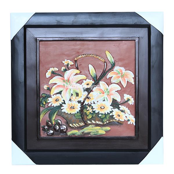 Tranh gốm Bát Tràng - Hoa lá
