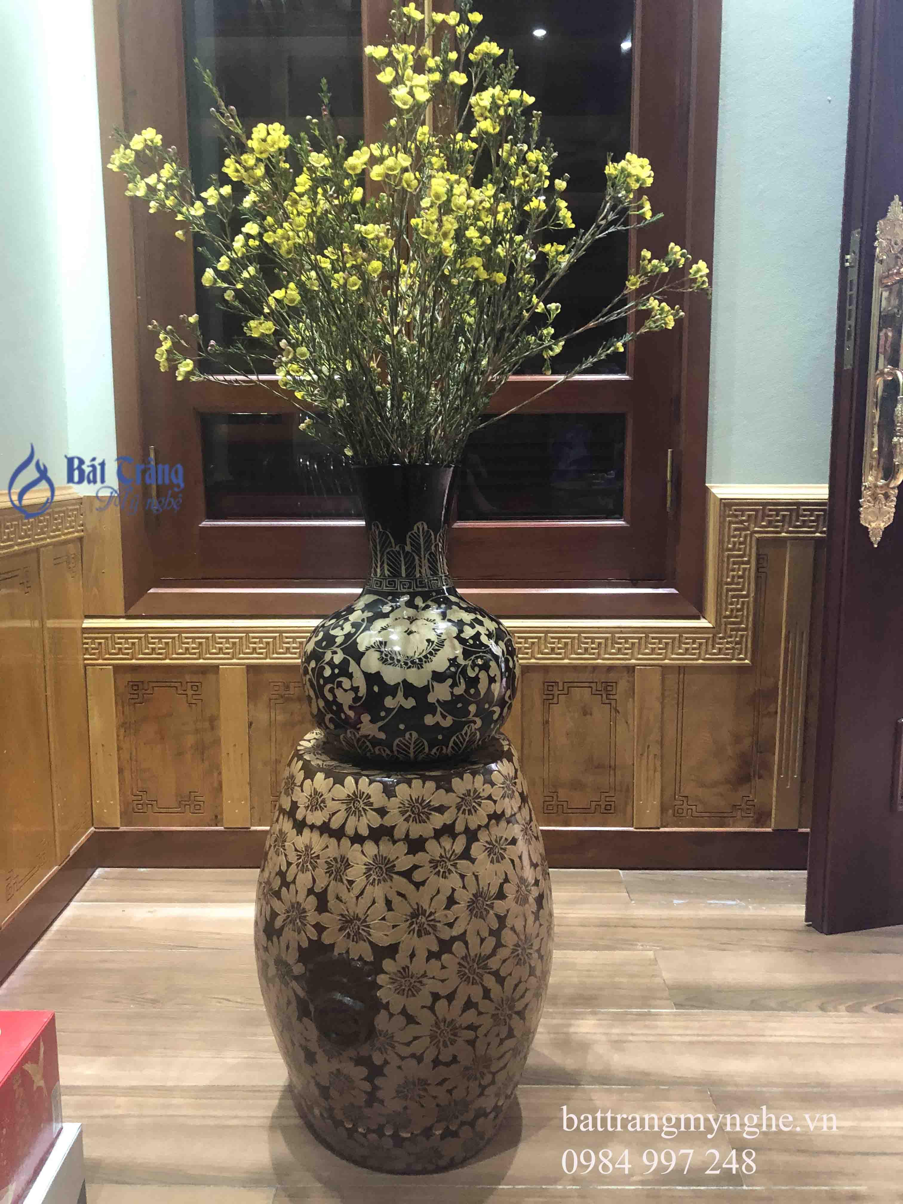 Lọ hoa dáng tỏi men nâu cao 40cm