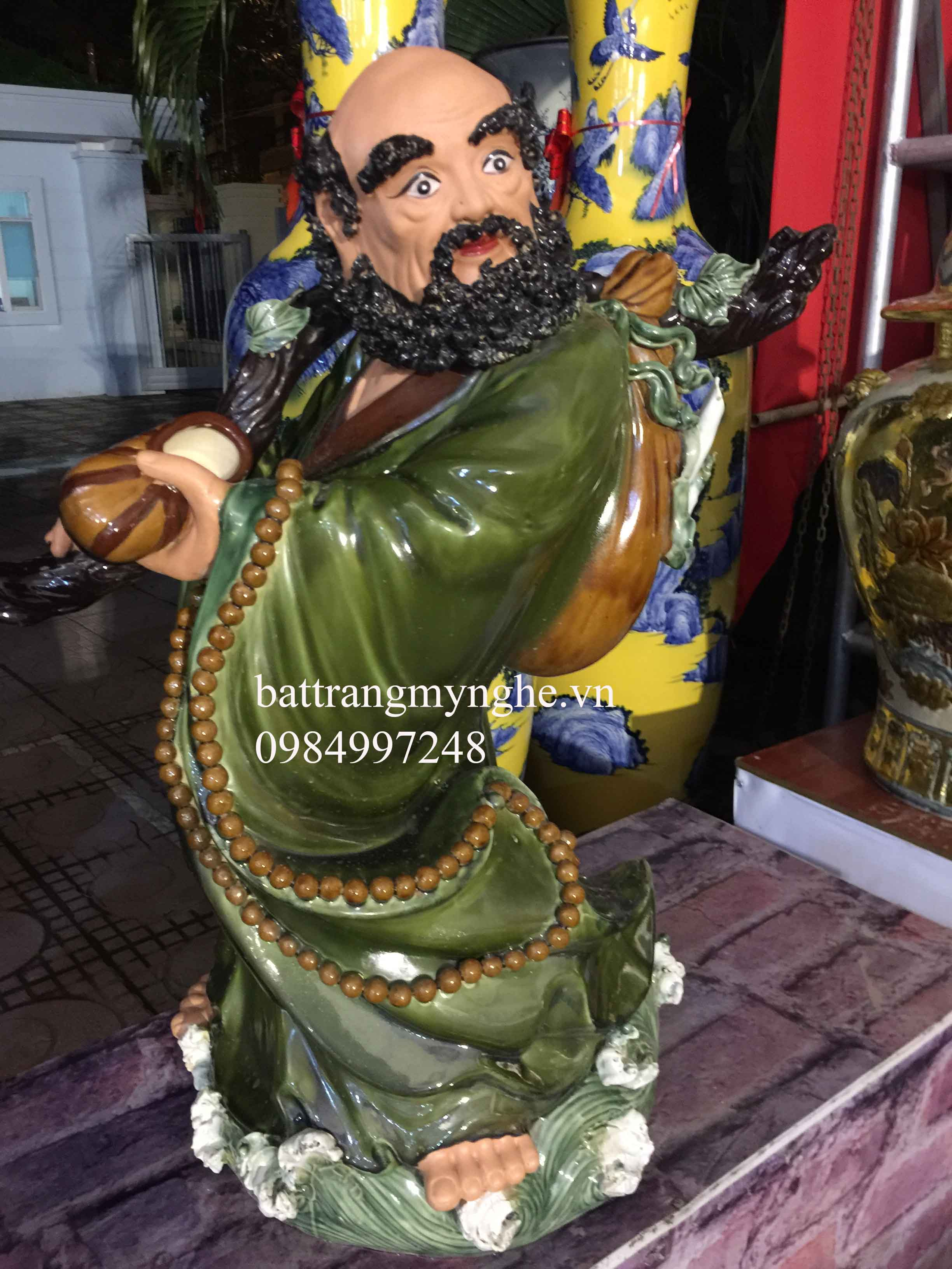 Tượng Đạt ma sư tổ cao 86cm men xanh