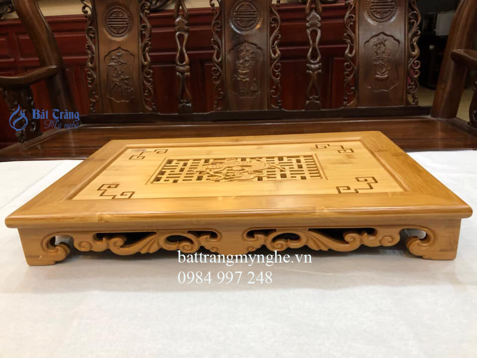 Khay gỗ sáng màu cao cấp dài 45cm rộng 30cm