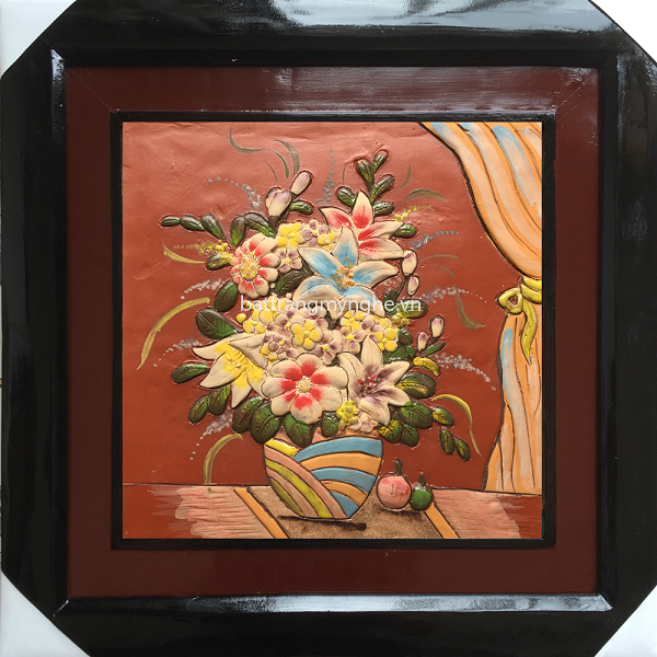 Tranh gốm vẽ giỏ hoa - 50x50cm