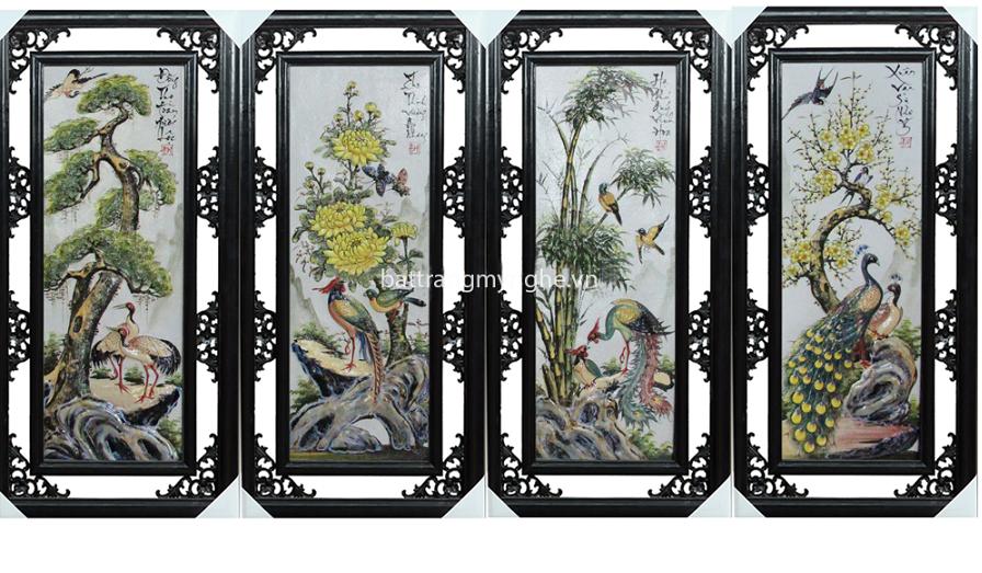Tranh tứ quý Tùng - Cúc - Trúc - Mai đắp nổi men màu số 2 - rộng 50cm - cao 100cm