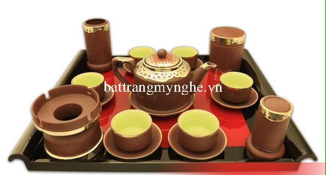 Bộ trà tích Phúc Lộc Thọ bọc đồng