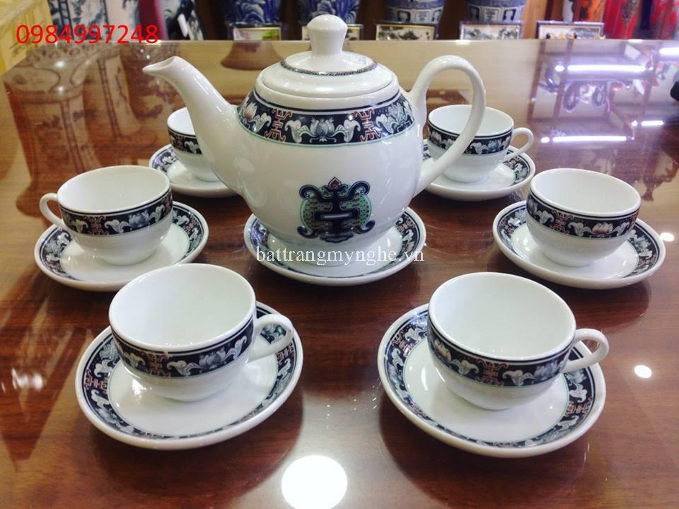 Bộ ấm trà viền cổ xanh