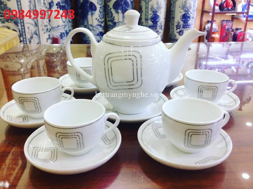 Bộ ấm trà viền vuông bạch kim