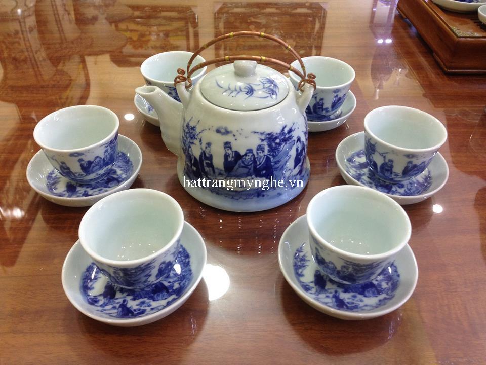 Bộ ấm trà men chàm cổ dáng vuốt to quai đồng vẽ trúc lâm thất hiền