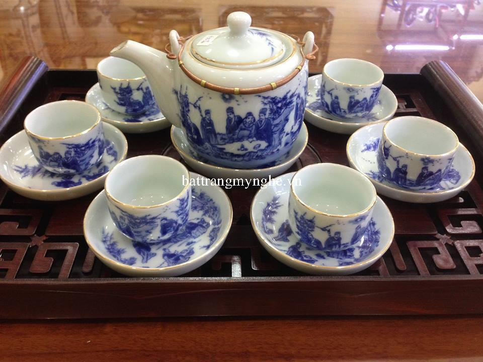 Bộ ấm trà cổ dáng vại quai đồng vẽ trúc lâm thất hiền kẻ chi vàng kim