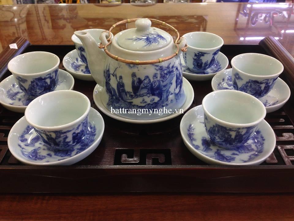 Bộ ấm trà men chàm cổ dáng vuốt nhỏ quai đồng vẽ trúc lâm thất hiền
