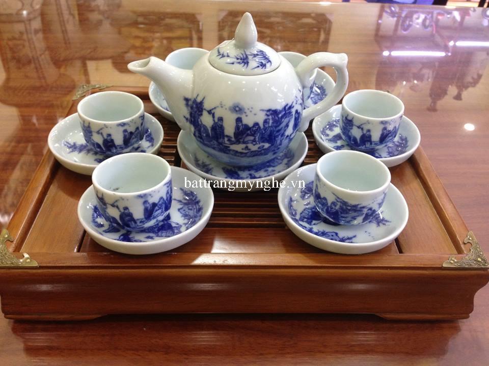 Bộ ấm trà men chàm cổ dáng bưởi vẽ trúc lâm thất hiền