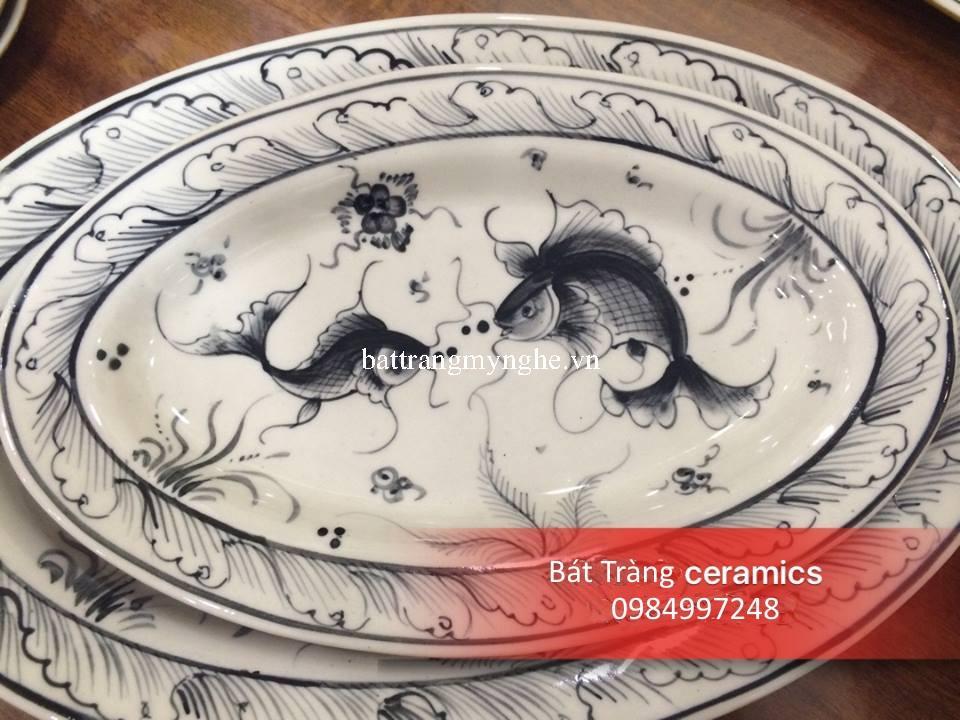 Bộ đồ ăn vẽ cá men da lươn cổ truyền