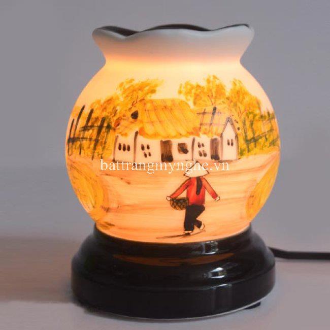 Đèn Xông Tinh Dầu Gốm Sứ Bát Tràng vẽ làng quê