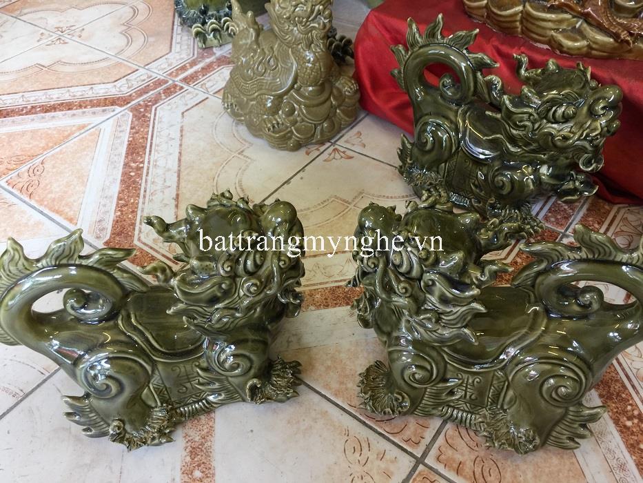 Nghê sứ - men xanh ngọc - cao 25 cm - dài 35 cm