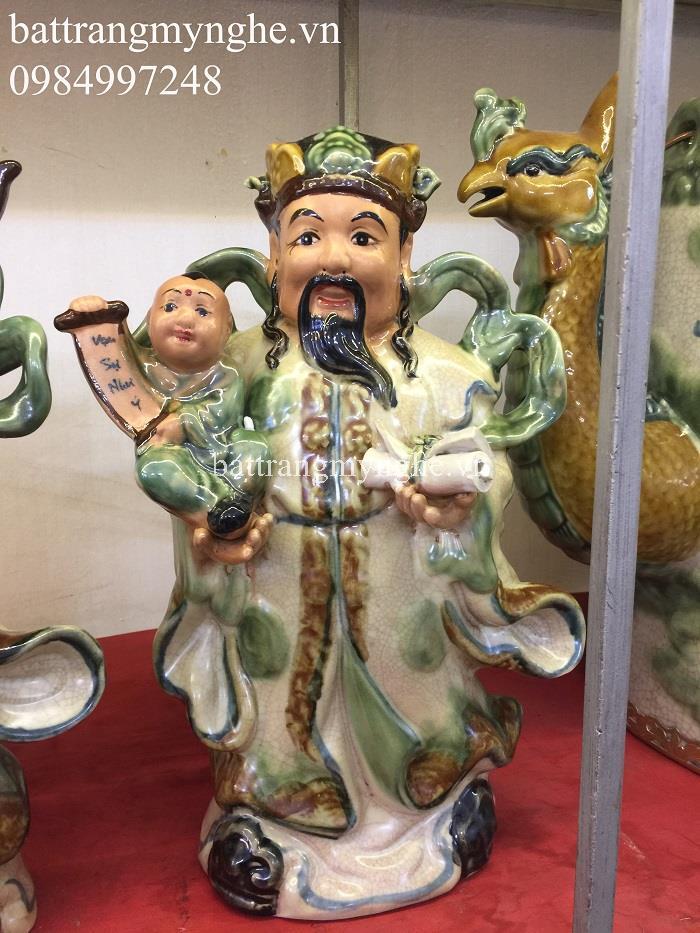 Tượng Phúc Lộc Thọ - men rạn cổ - cao 32 cm - hàng kỹ