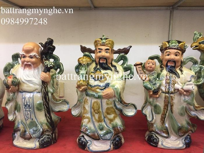 Tượng Phúc Lộc Thọ - men rạn cổ - cao 37 cm - hàng kỹ