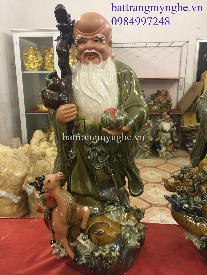 Tượng Tam Đa Tứ Linh Hội Tụ - Cao 70cm, rộng 35cm men xanh hàng kĩ