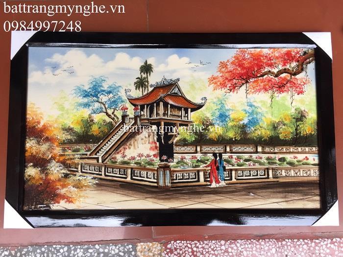 Tranh sứ vẽ màu chùa một cột khổ 65x40