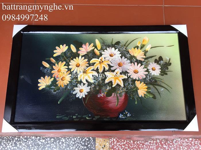 Tranh sứ màu vẽ hoa khổ 65x40