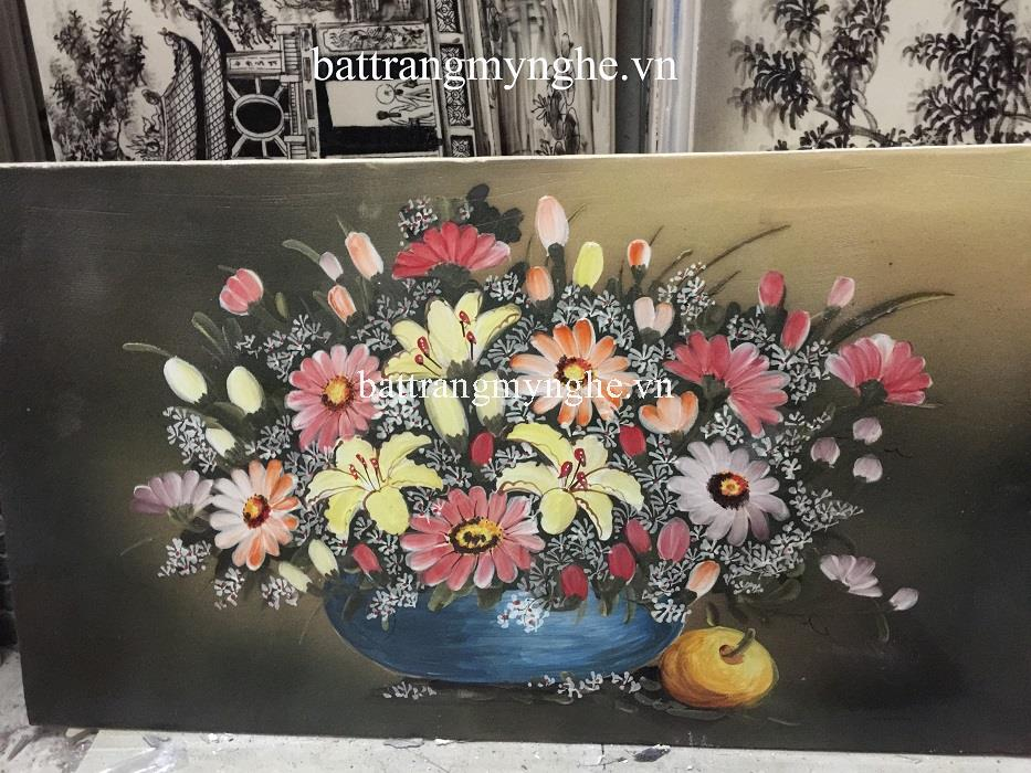 Tranh sứ vẽ hoa khổ 50x80