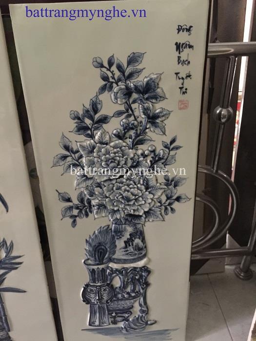 Tranh tứ cảnh lọ hoa bốn mùa - 40x100cm