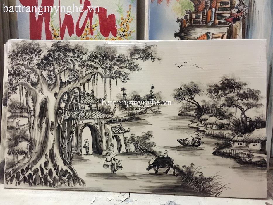 Tranh sứ đen  trắng vẽ cảnh làng quê cả khung 50x80