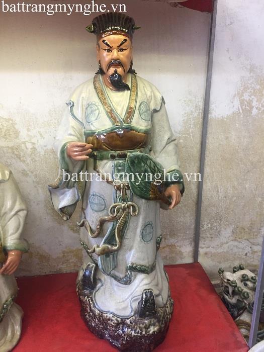 Tượng Khổng Minh - men rạn - hàng kĩ - cao 86 cm