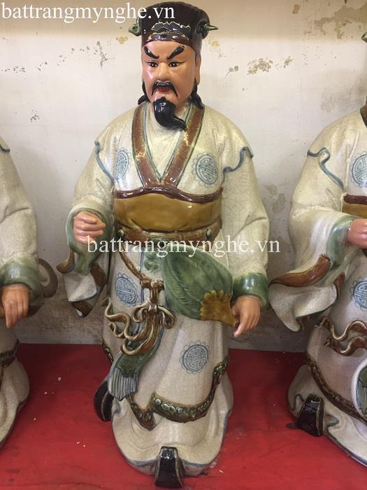 Tượng Khổng Minh - men rạn - hàng kĩ - cao 75 cm