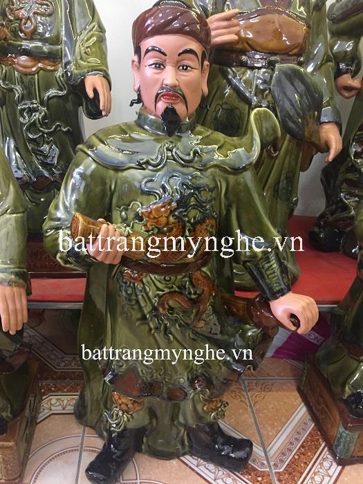 Tượng đôi văn võ: Lý Thái Tổ và Trần Hưng Đạo - men xanh ngọc- hàng kĩ - cao 80 cm