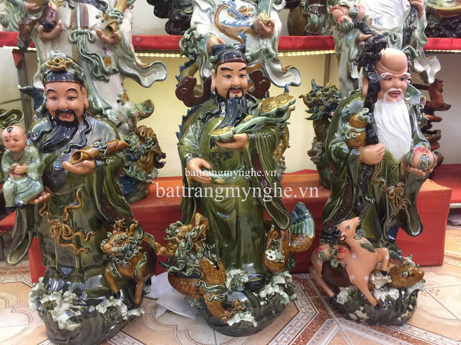Tượng Tam Đa Tứ Linh Hội Tụ - Cao 90 cm, rộng 38cm men xanh ngọc hàng kĩ