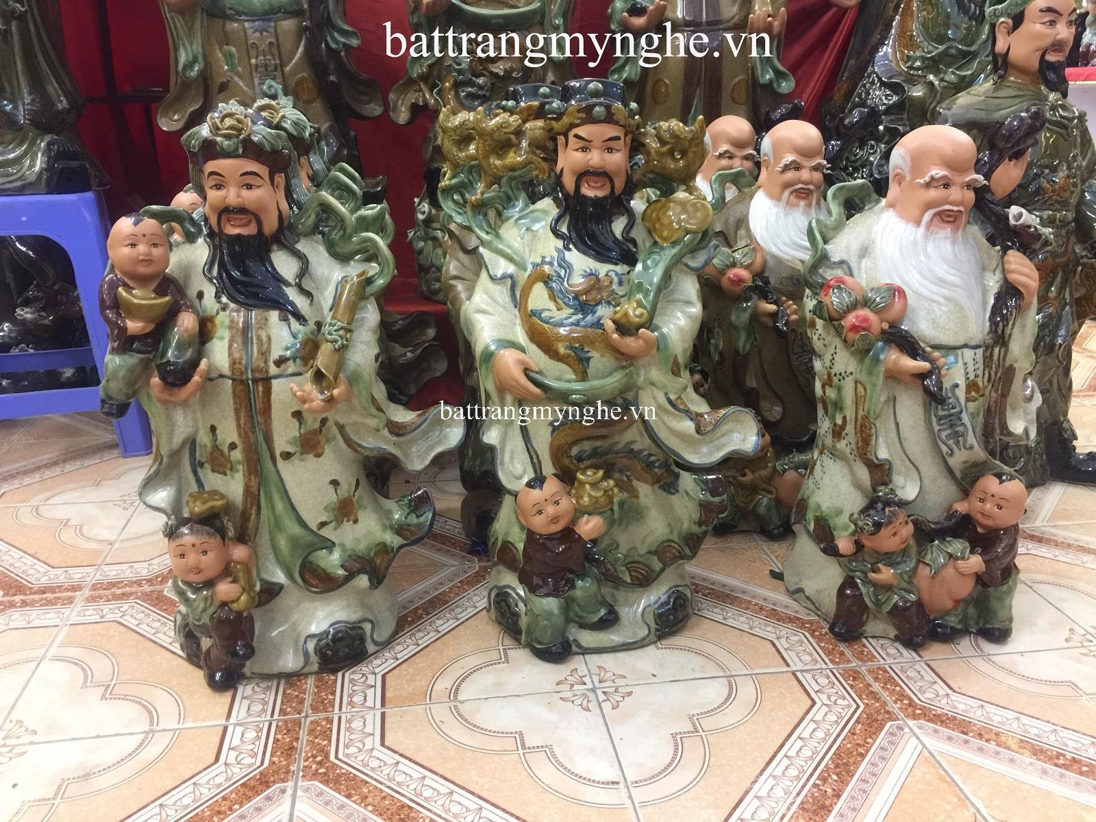 Tượng Phúc Lộc Thọ - men rạn cổ - cao 65 cm - hàng kỹ