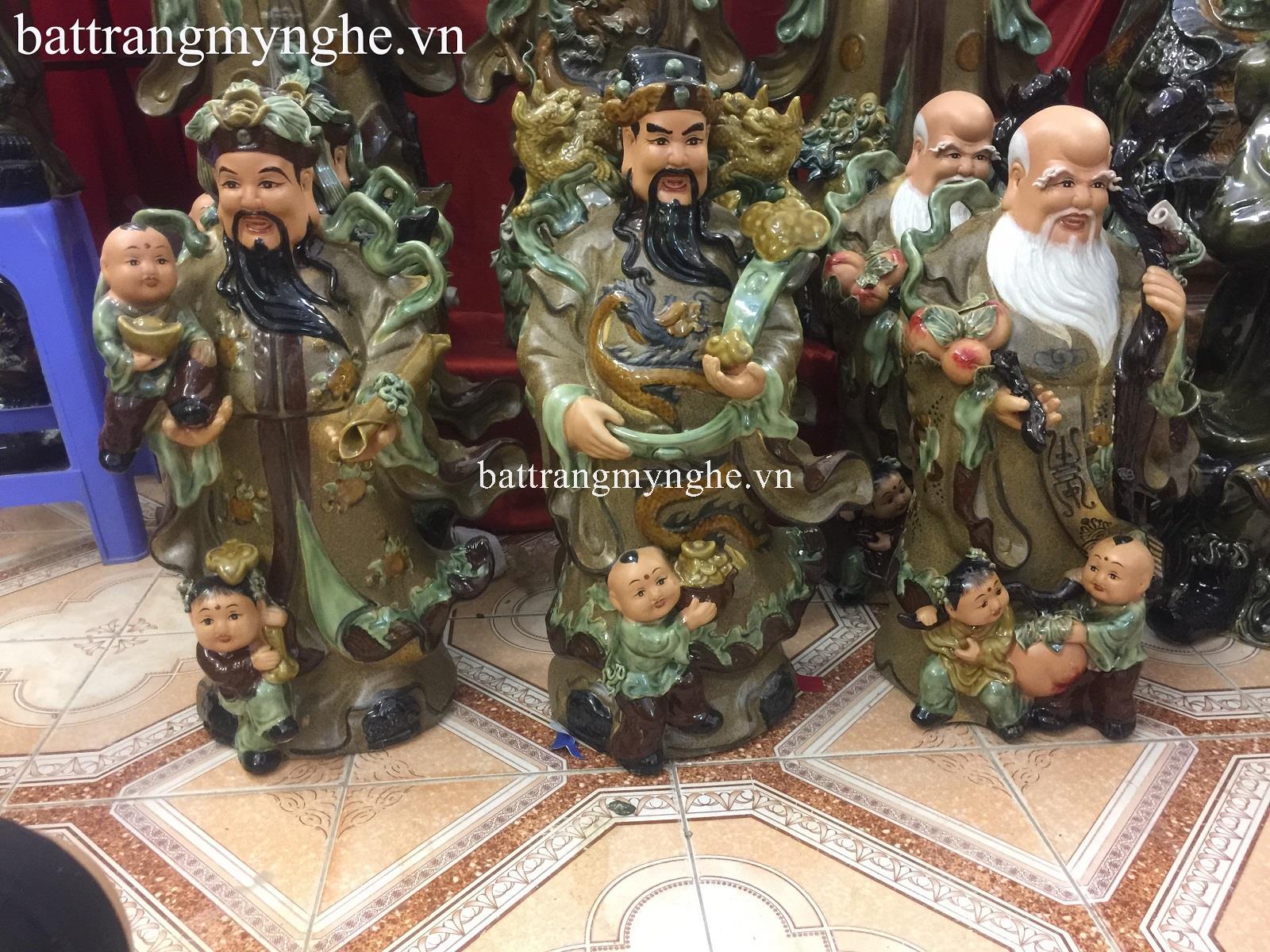 Tượng Phúc Lộc Thọ - men nâu- cao 65 cm - hàng kỹ