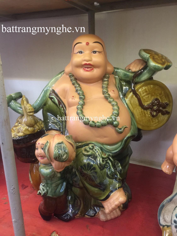Tượng Di Lặc Gánh Tiền Đào men xanh cao 60cm