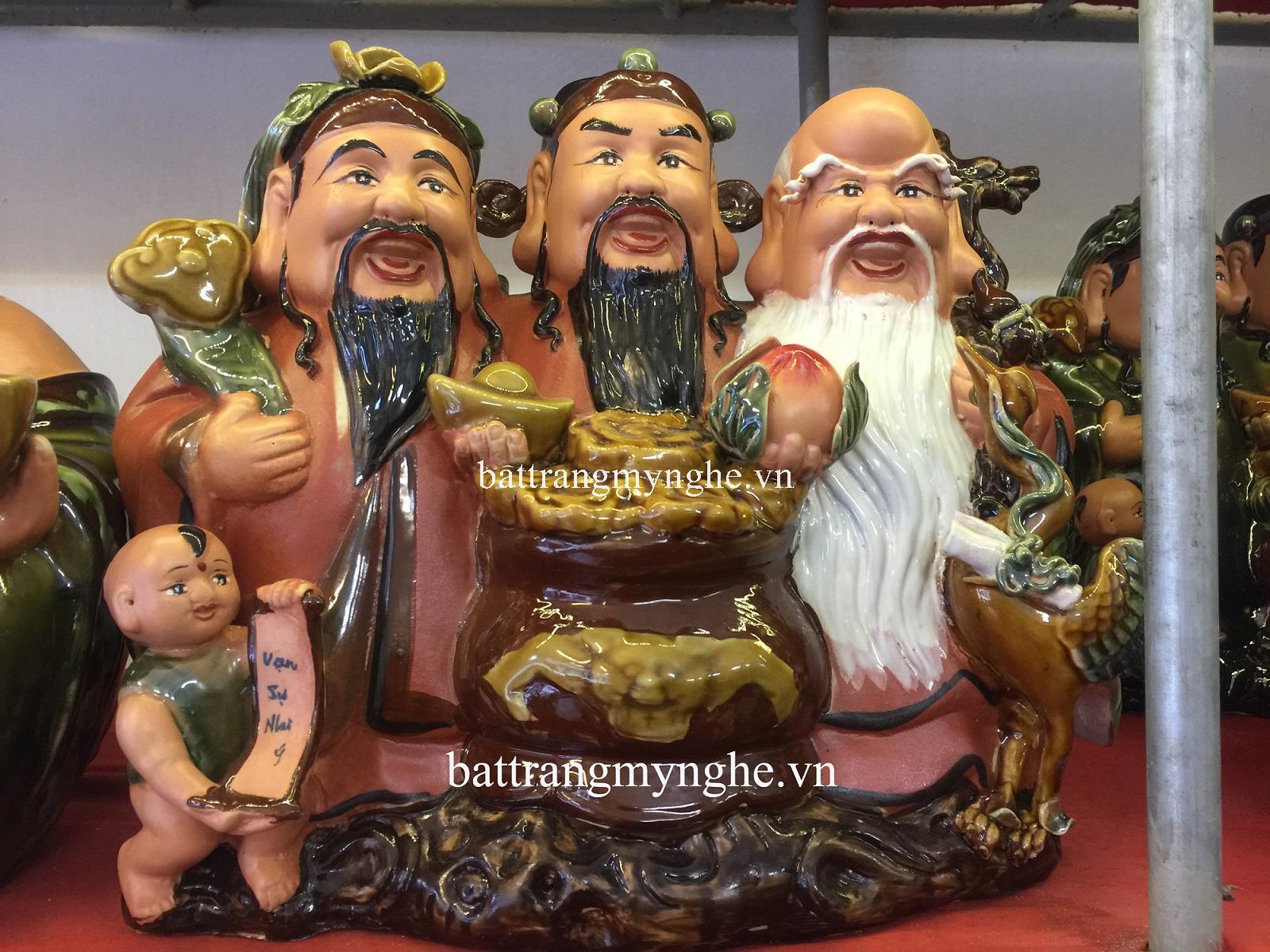 Tượng Phúc Lộc Thọ 3 ông liền - men nâu đỏ - cao 34 cm - hàng kỹ