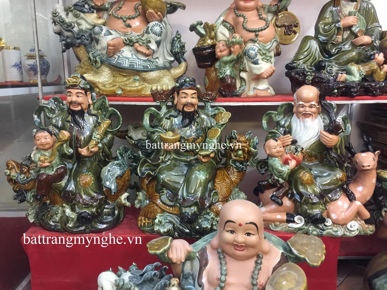 Tượng Phúc Lộc Thọ ngồi - men xanh ngọc - cao 65 cm