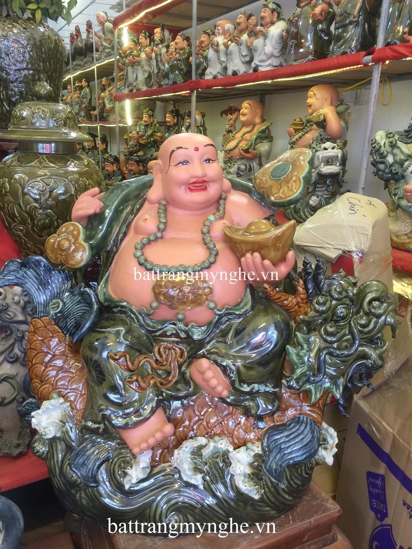 Tượng Di Lặc cưỡi cá chép hóa Rồng - men xanh - cao 70 cm