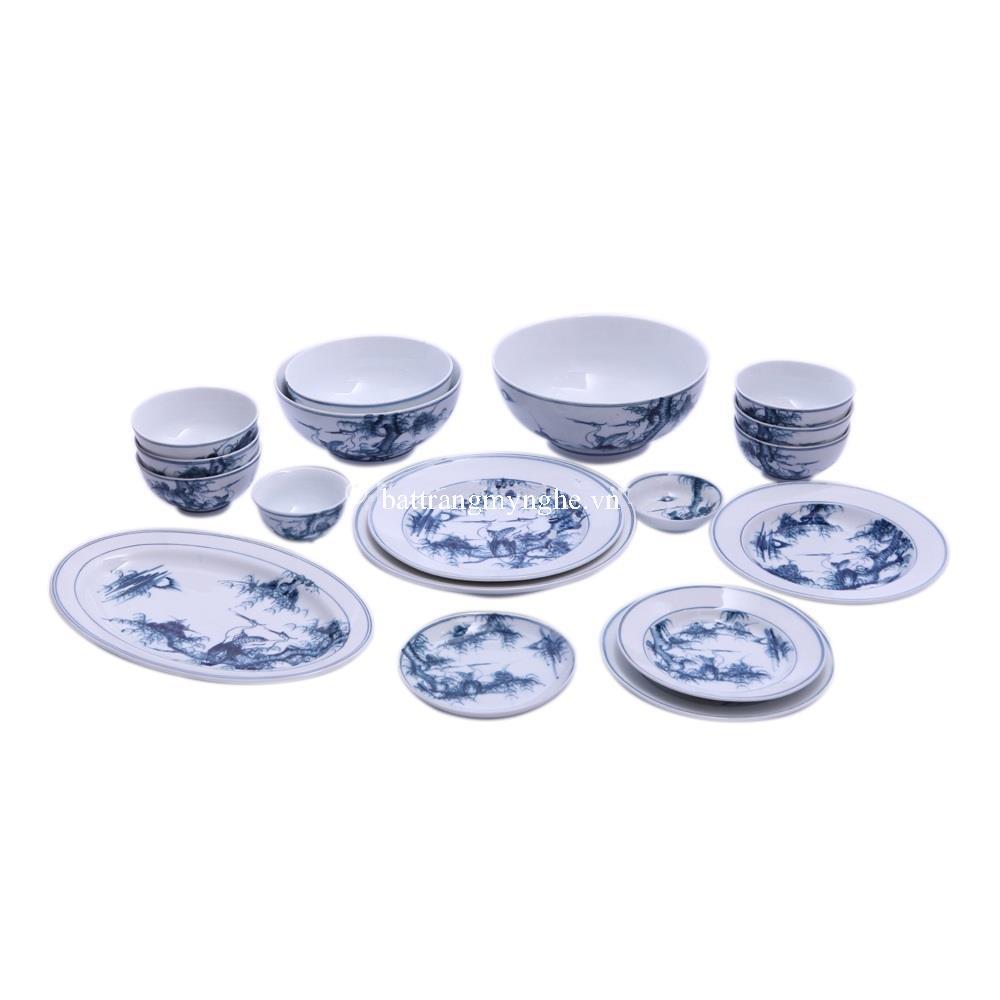 Bộ đồ ăn Bát Tràng vẽ cảnh Tùng Hạc - men chàm cổ